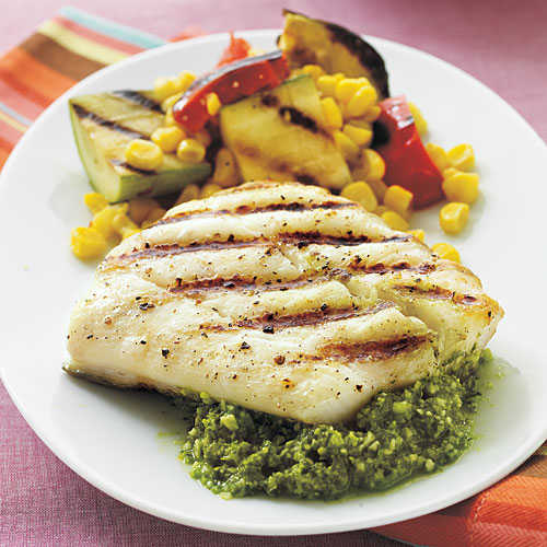 Halibut with quick lemon pesto 5 ingredient summer for How to cook halibut fish