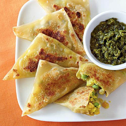 Curried Vegetable Samosas with Cilantro-Mint Chutney Vegetarian Pasta and Grains Recipe