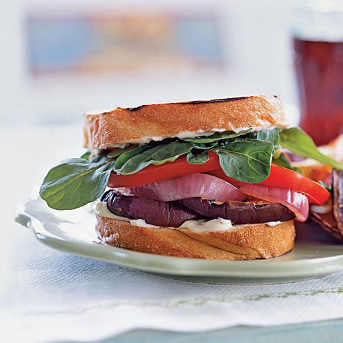 Grilled Eggplant Sandwiches with Red Onion and Aioli Vegetarian Recipe
