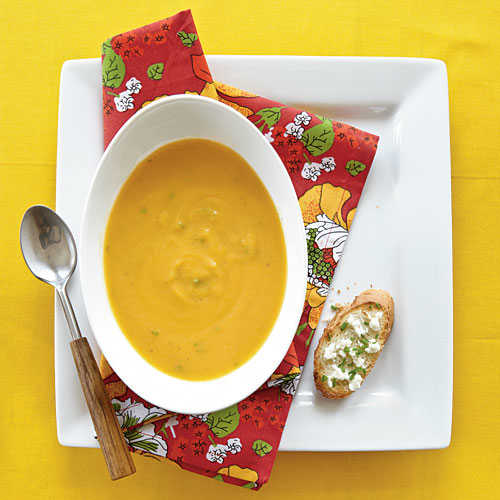 Roasted Butternut Soup with Goat Cheese Toasts Vegetarian Recipe
