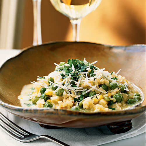 Sweet Pea Risotto with Corn Broth Vegetarian Pasta and Grains Recipe