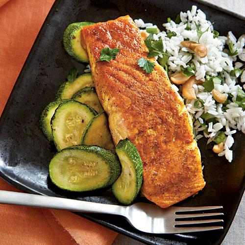Indian-Spiced Salmon with Basmati Rice