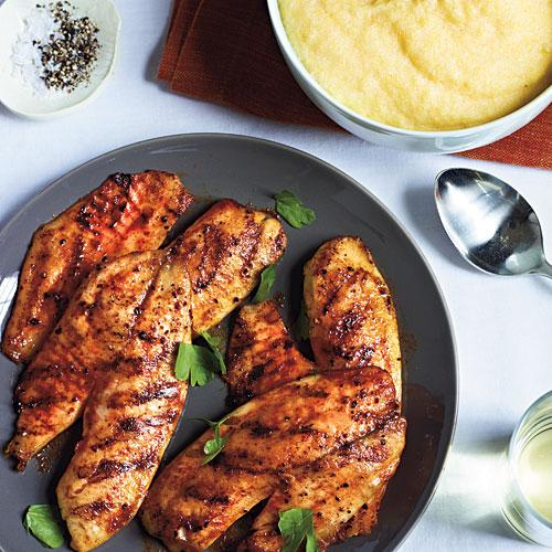 Grilled Tilapia with Smoked Paprika and Parmesan Polenta