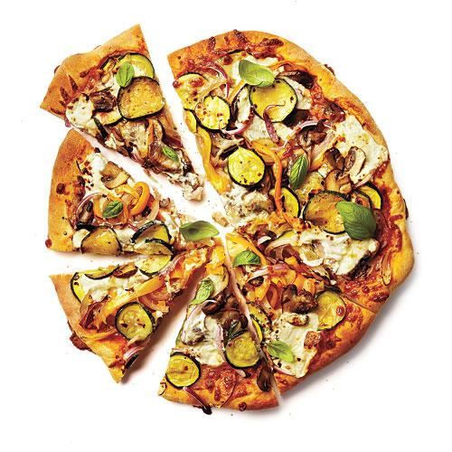 You pile wet toppings on pizza crust