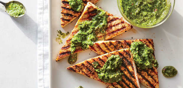 Churrasco-Style Tofu Steaks with Hemp Chimichurri