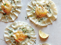 These gorgeous ravioli come together easily thanks to pot sticker wrappers, which are made with the same ingredients as pasta dough. Just wait till you cut in and taste how good this appetizer is.