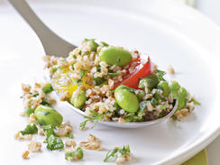 This nutritionally rich make-ahead salad holds up well throughout the week. Pack with grilled chicken or crunchy nuts to add a boost of protein. Substitute fresh-shelled fava beans for edamame, if you like.