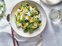 Sugar snaps, green peas, and pea shoots enrich this dish with sweet flavor and a bounty of pleasing textures. Look for pea shoots at your local farmers market or Asian market, or substitute watercress.