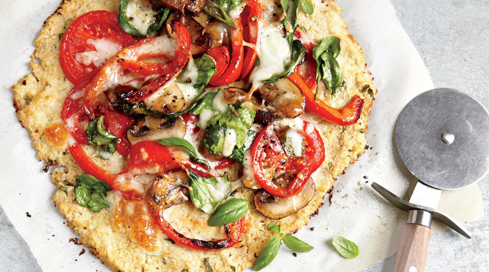 No  knead  for bread—this cheesy veggie crust has half the carbs and double the fiber of traditional pizza dough.