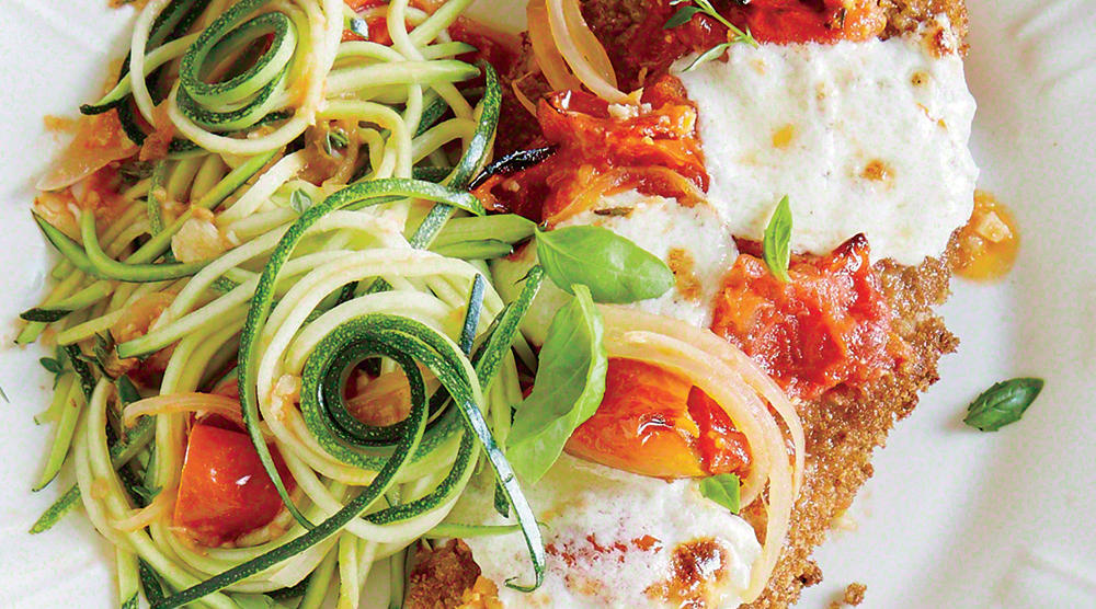 Chicken Parmesan Over Zucchini Noodles