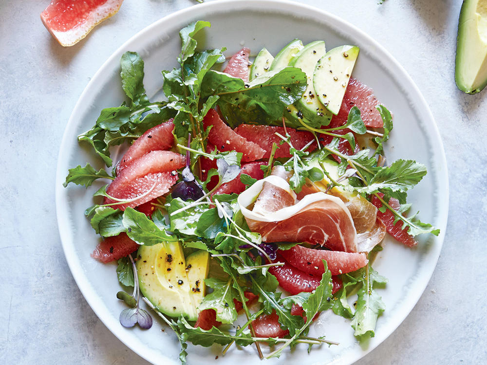 Bright, refreshing grapefruit pairs surprisingly well with nutty-earthy toasted sesame oil. This meal is full of satiating heart-healthy fats that will keep you full for a long time, which makes it great for breakfast. But we also really love this for an easy and healthy no-cook lunch. The slight bitter tang of grapefruit combines with salty prosciutto and creamy avocado for a dish we can't get enough of in the warmer months.