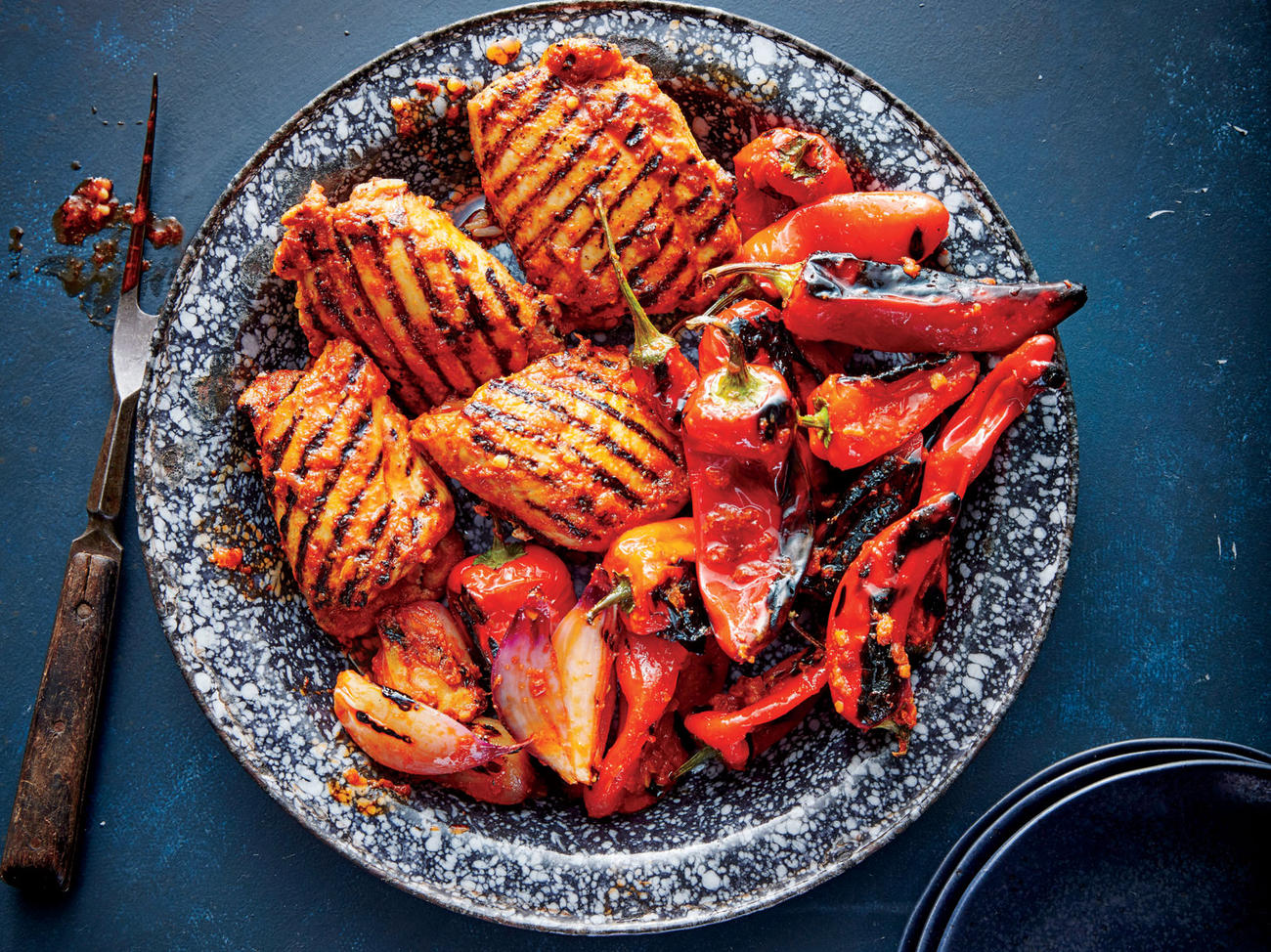 Grilled Red Curry Chicken and Bell Peppers