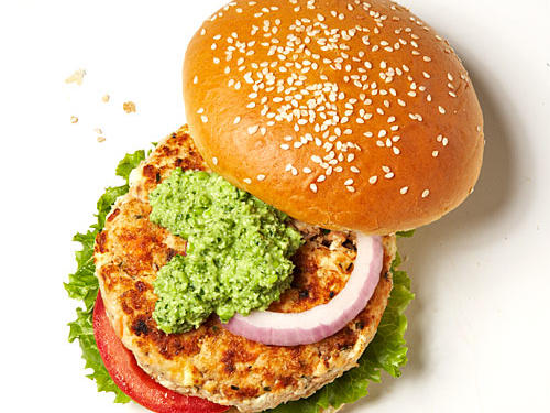 Wasabi Salmon Burgers with Edamame-Cilantro Pesto Recipe