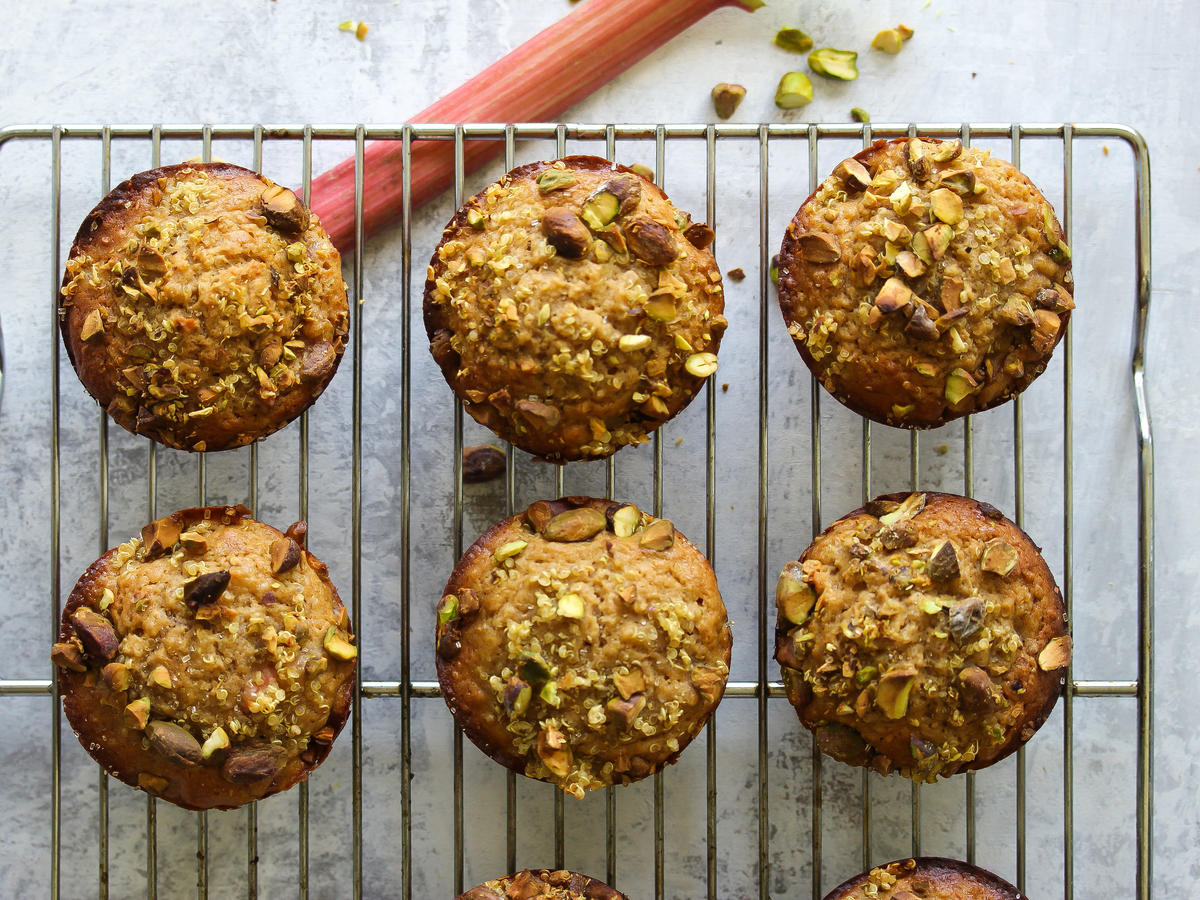 Quinoa Rhubarb Muffins with Pistachios