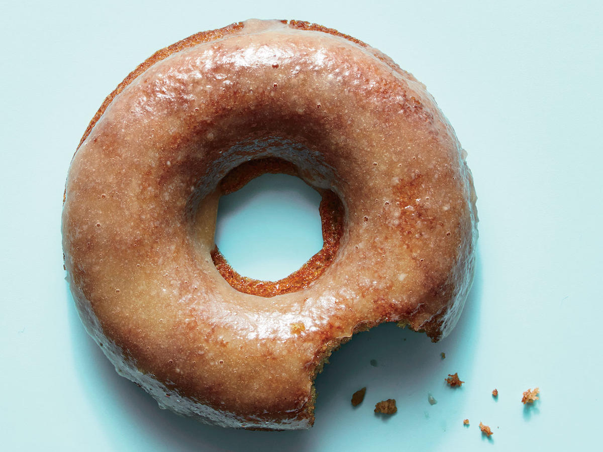 cider doughnuts with maple tahini glaze