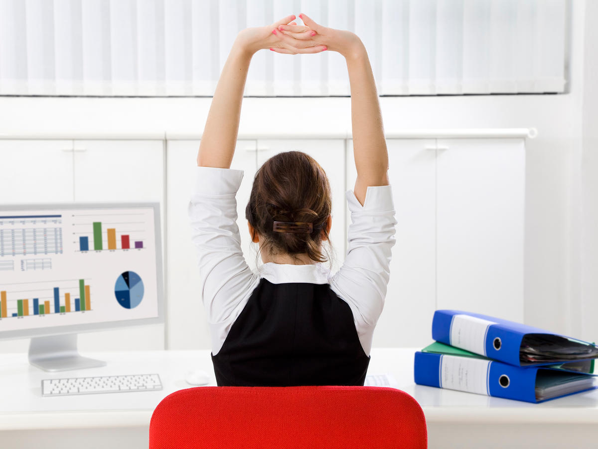 Overhead Arm Stretch at Desk
