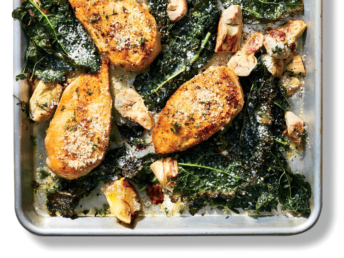 Lemon Chicken with Artichokes and Kale