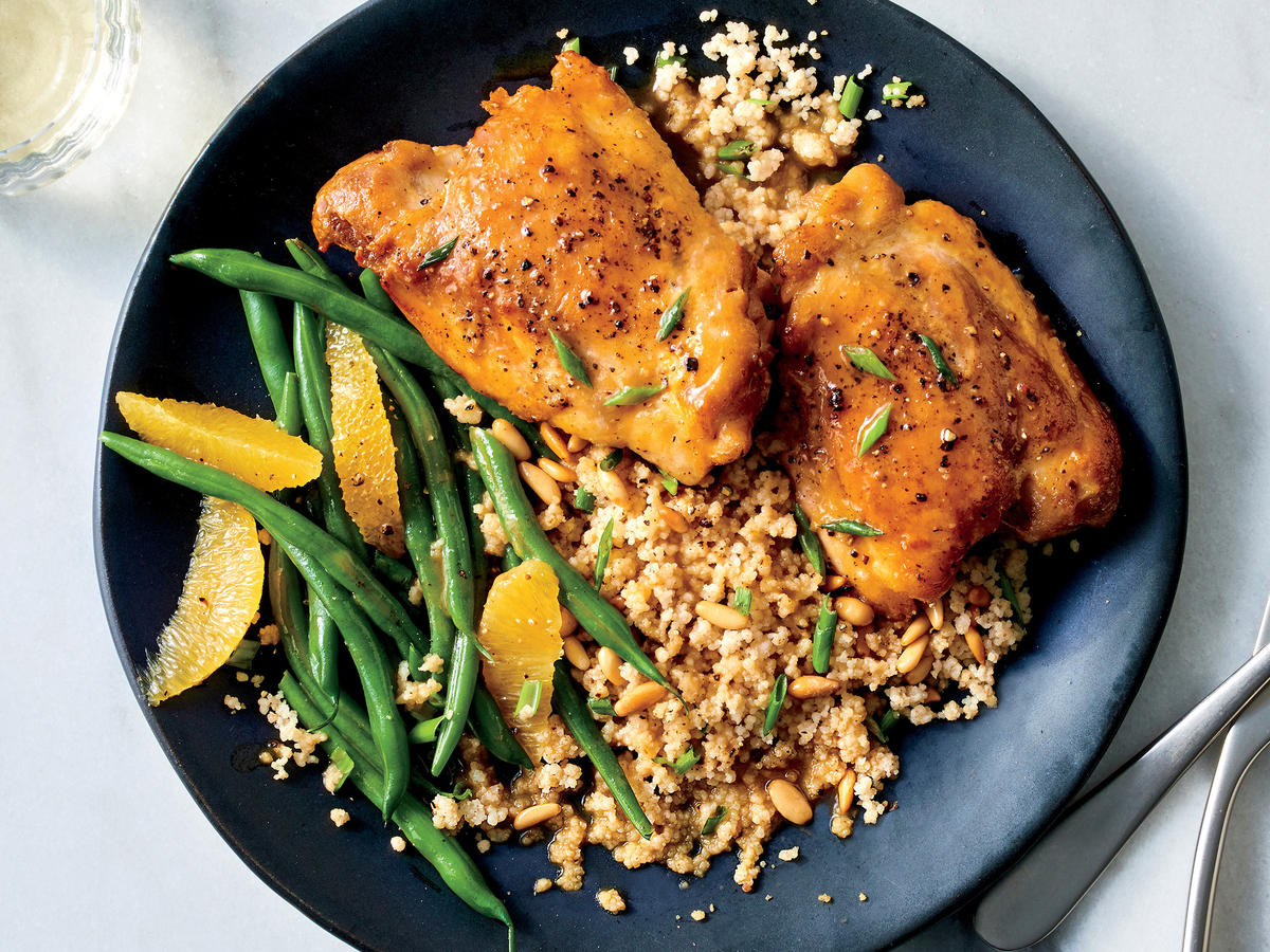 Glazed Chicken with Couscous and Green Beans