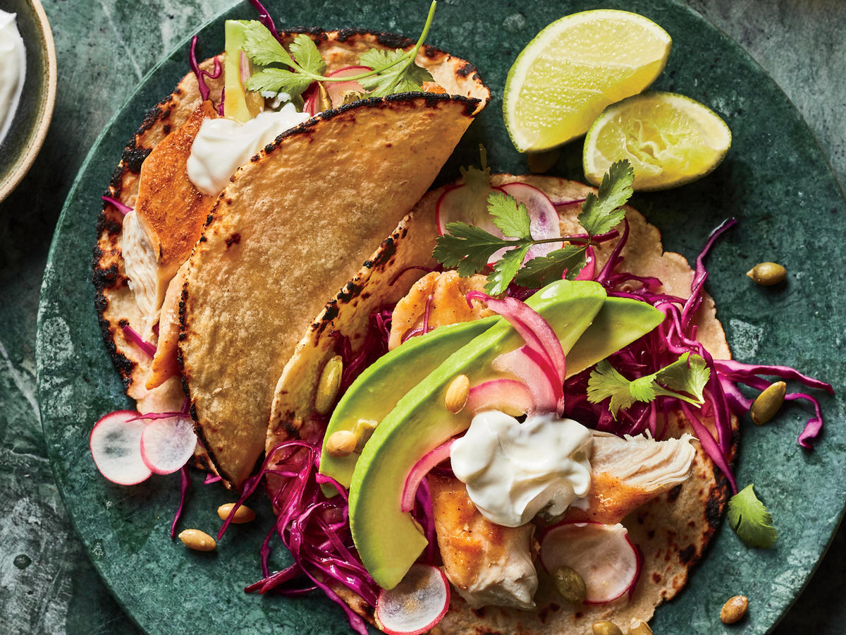 Spiced Chicken Tacos with Lime-Cabbage Slaw