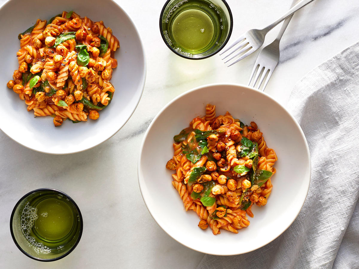 Double Chickpea and Tomato-Spinach Pasta
