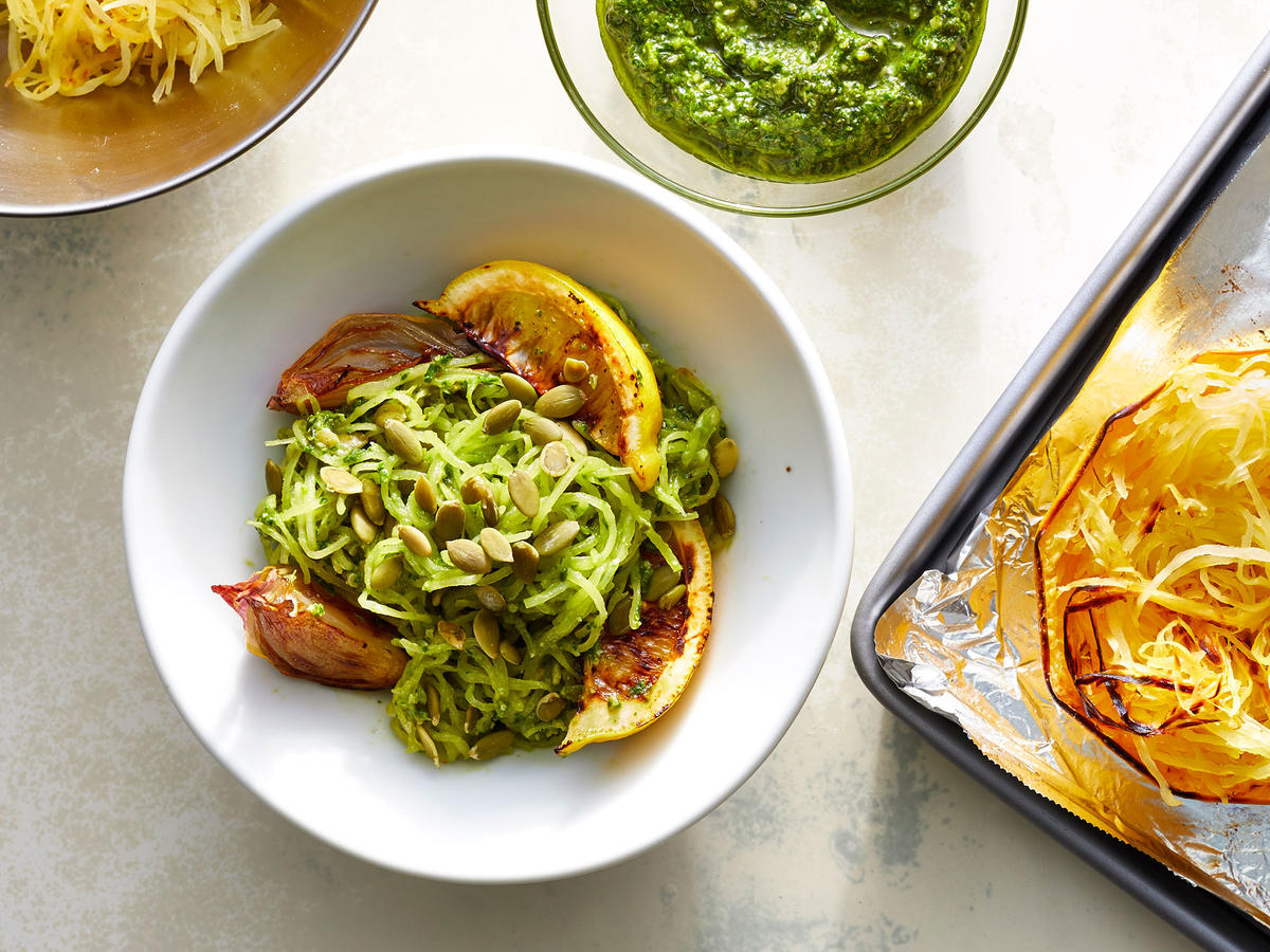 Spaghetti Squash With Spinach Pesto and Roasted Lemons