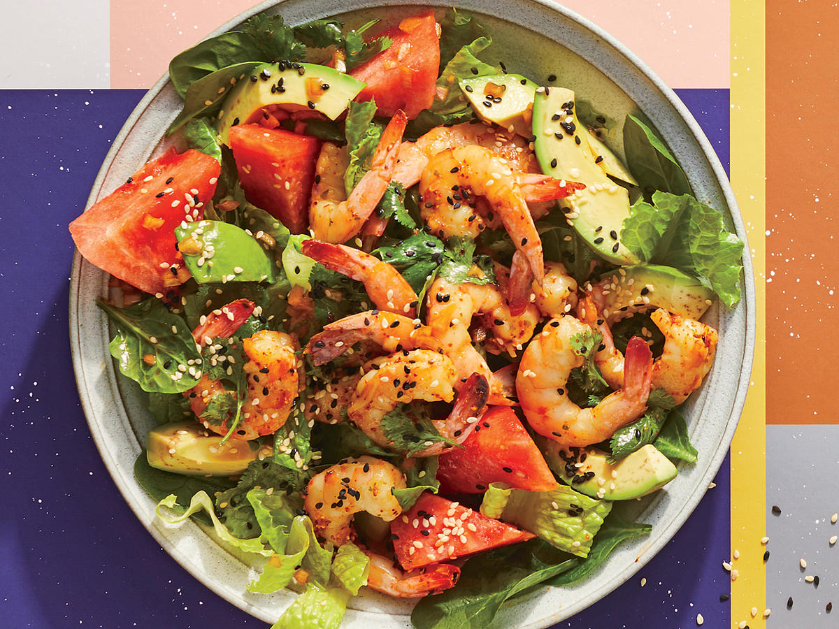 Steamed Shrimp and Watermelon Salad