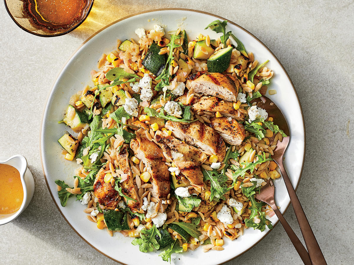 Grilled Chicken and Vegetable Orzo Salad