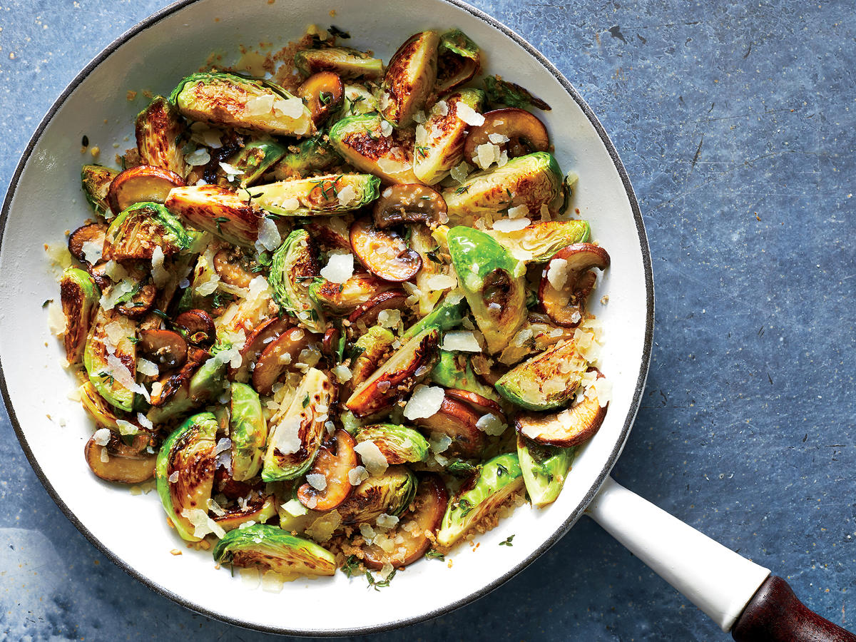 Cheesy Brussels Sprouts and Mushrooms Are a Surprisingly Low-Calorie Side Dish