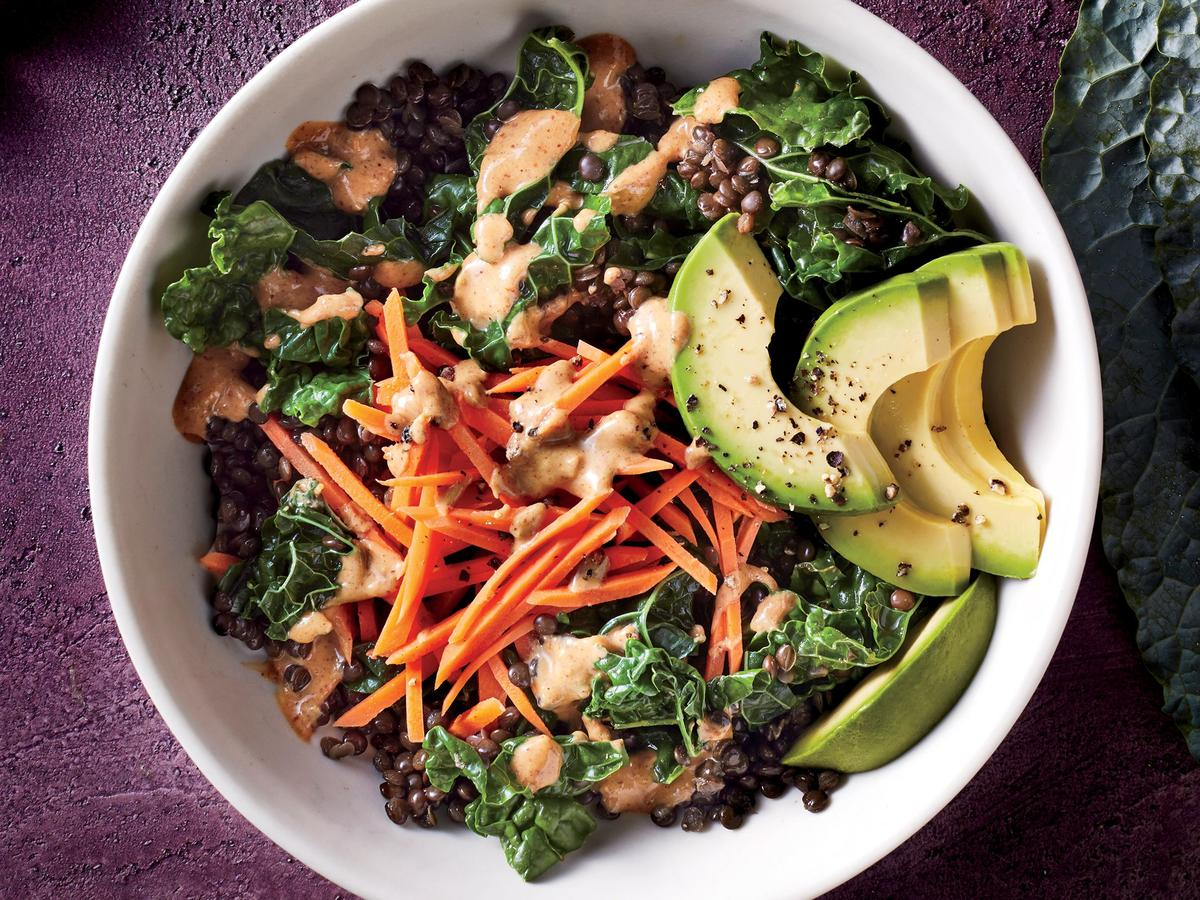 This Kale Lentil Bowl With Thai Almond Sauce Has 44% of Your Daily Fiber