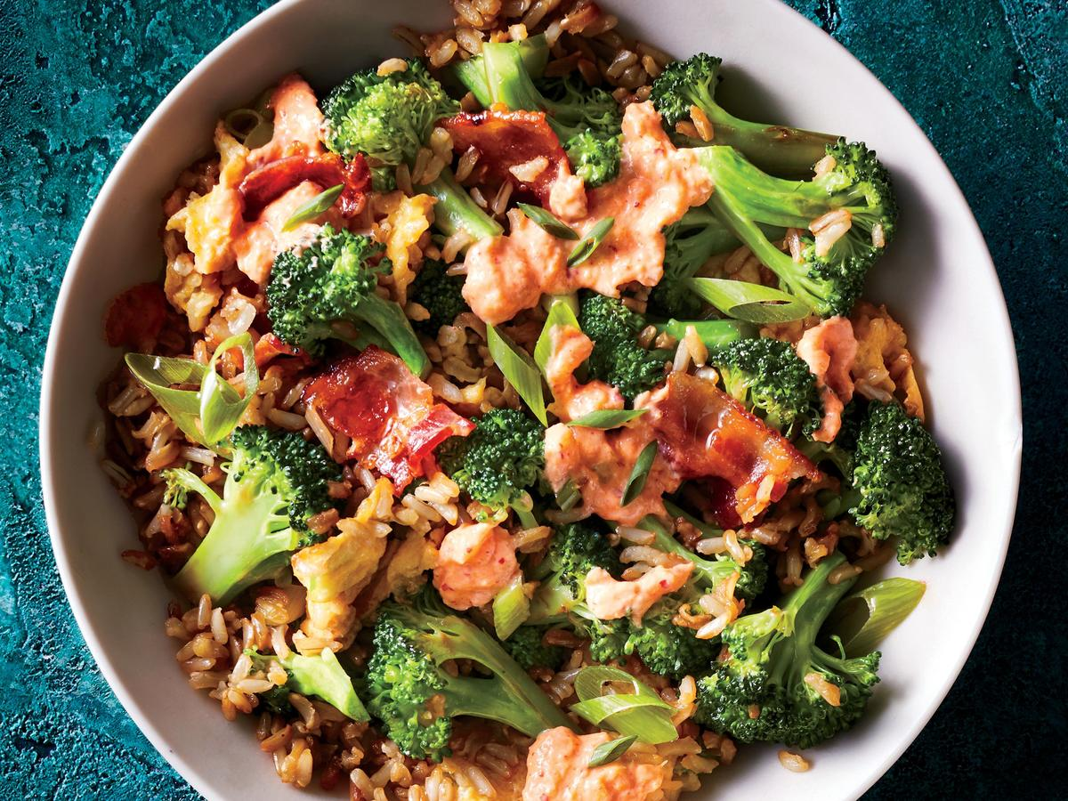 Broccoli Fried Rice with Kimchi Cream