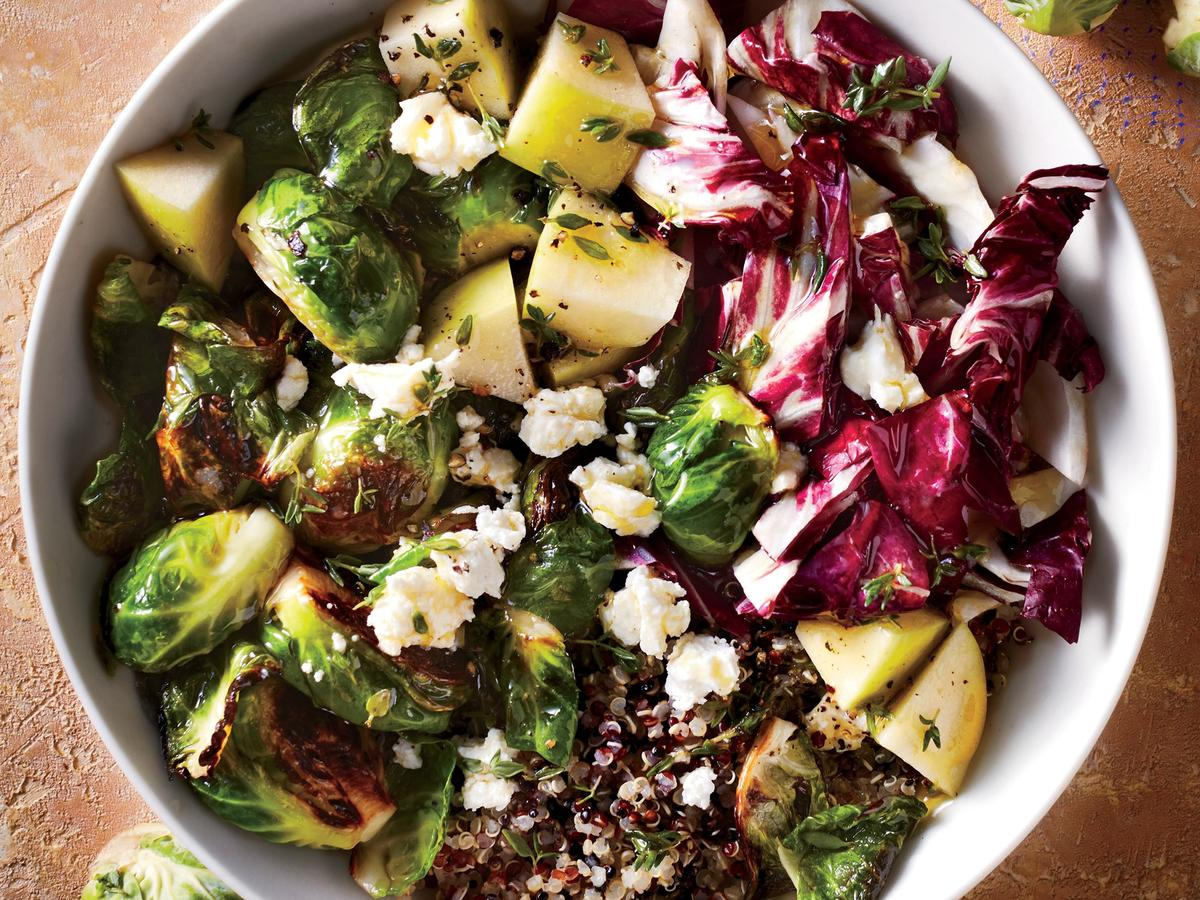 Brussels and Quinoa Bowl with Orange-Thyme Vinaigrette