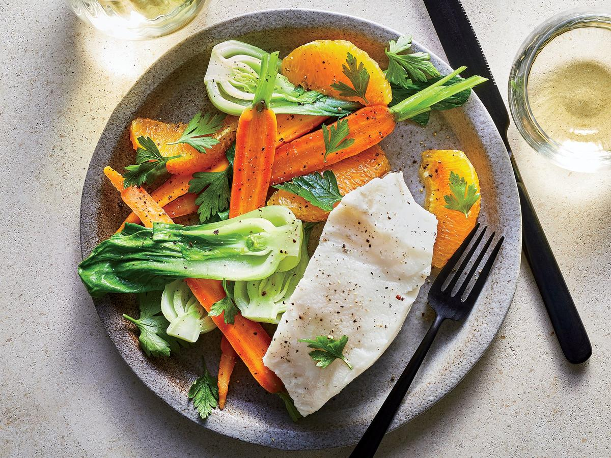 Poached Sea Bass with Gingery Veggies