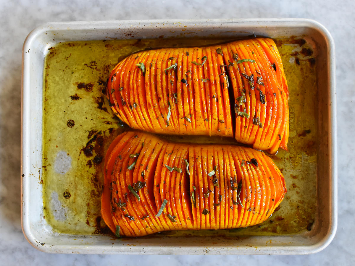 Hasselback Butternut Squash With Maple-Brown Butter Sauce