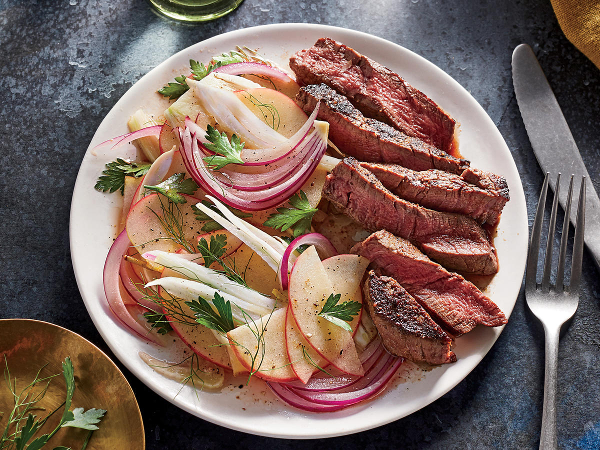Filet Mignon with Apple-Fennel Slaw