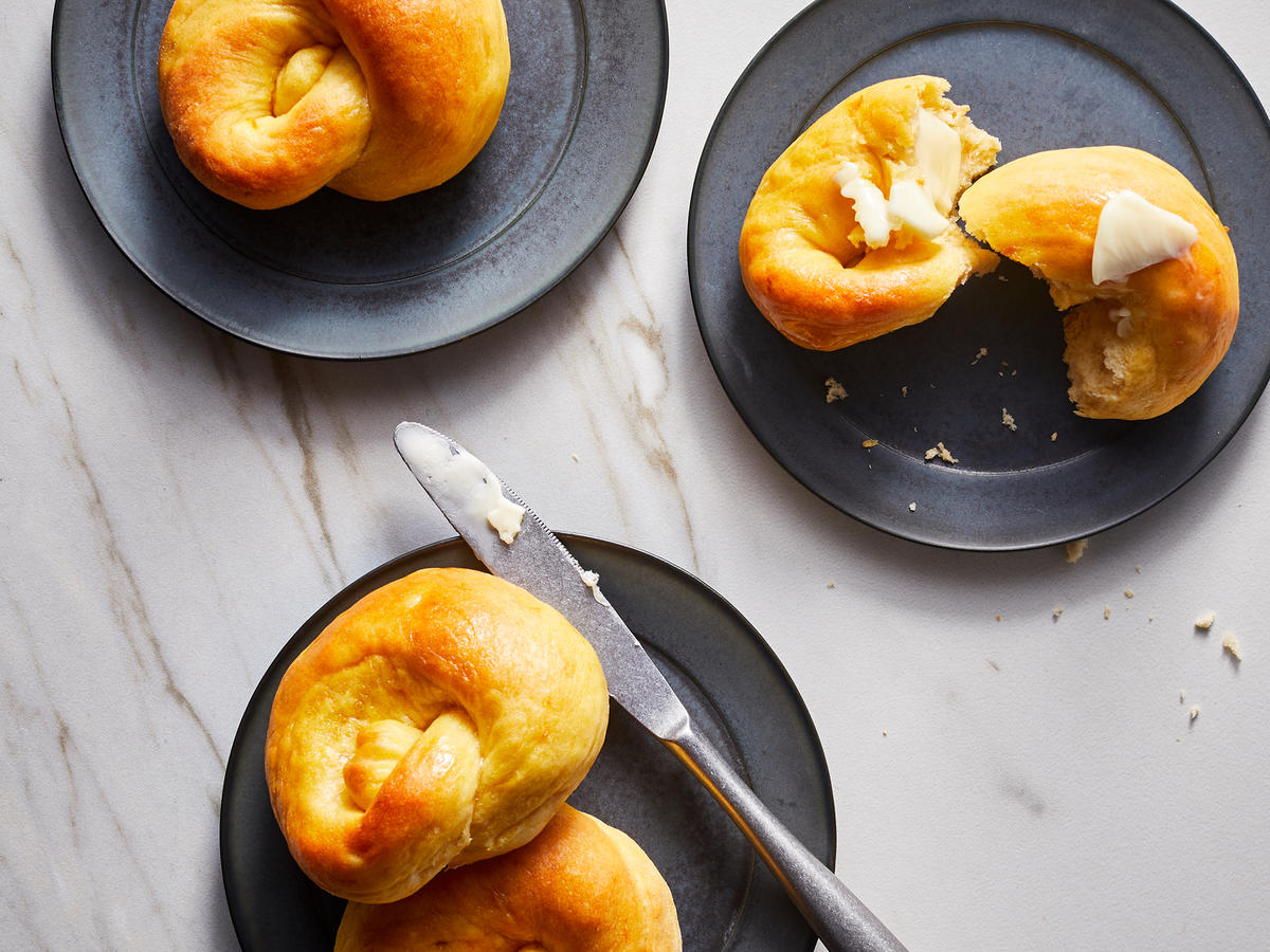 Buttered Sweet Potato Knot Rolls