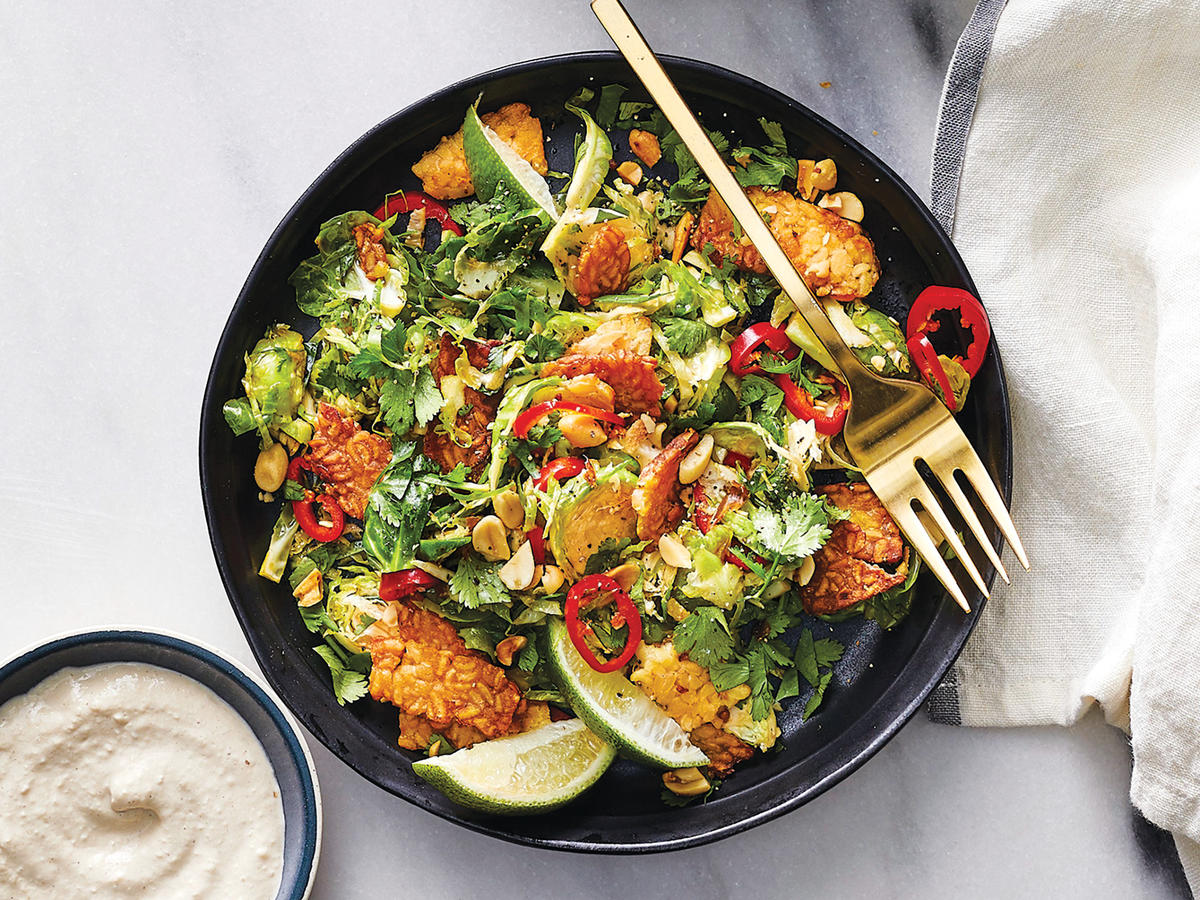 Detox Book 2018 - Brussels Sprouts and Crispy Tempeh with Soy Dressing