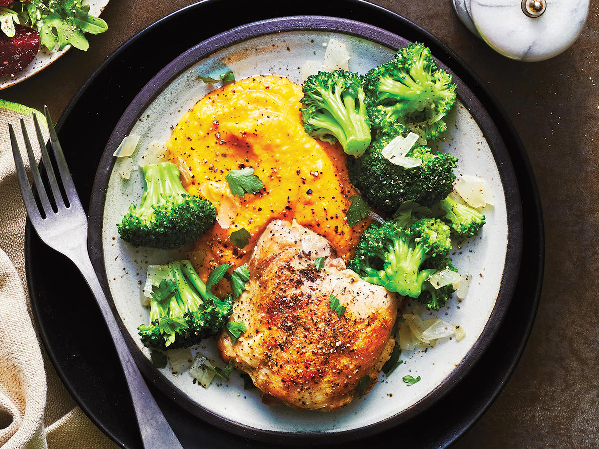 Poached Chicken Thigh with Whipped Butternut Squash and Steamed Broccoli