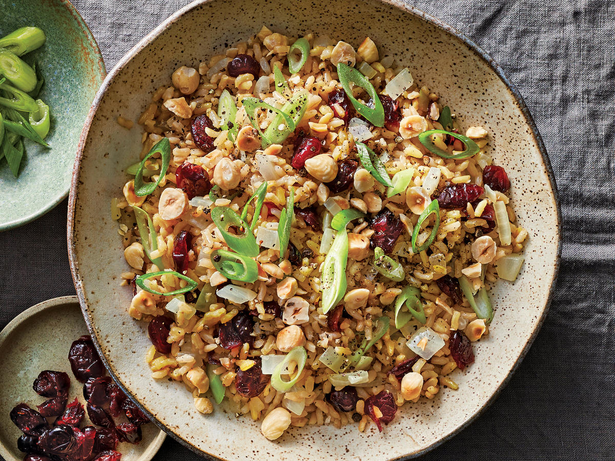 Slow Cooker Brown Rice Pilaf With Cherries And Hazelnuts