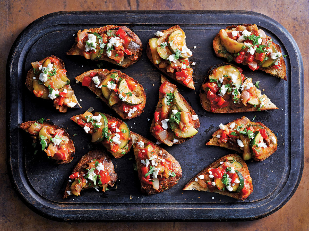 Ratatouille And Goat Cheese Toasts