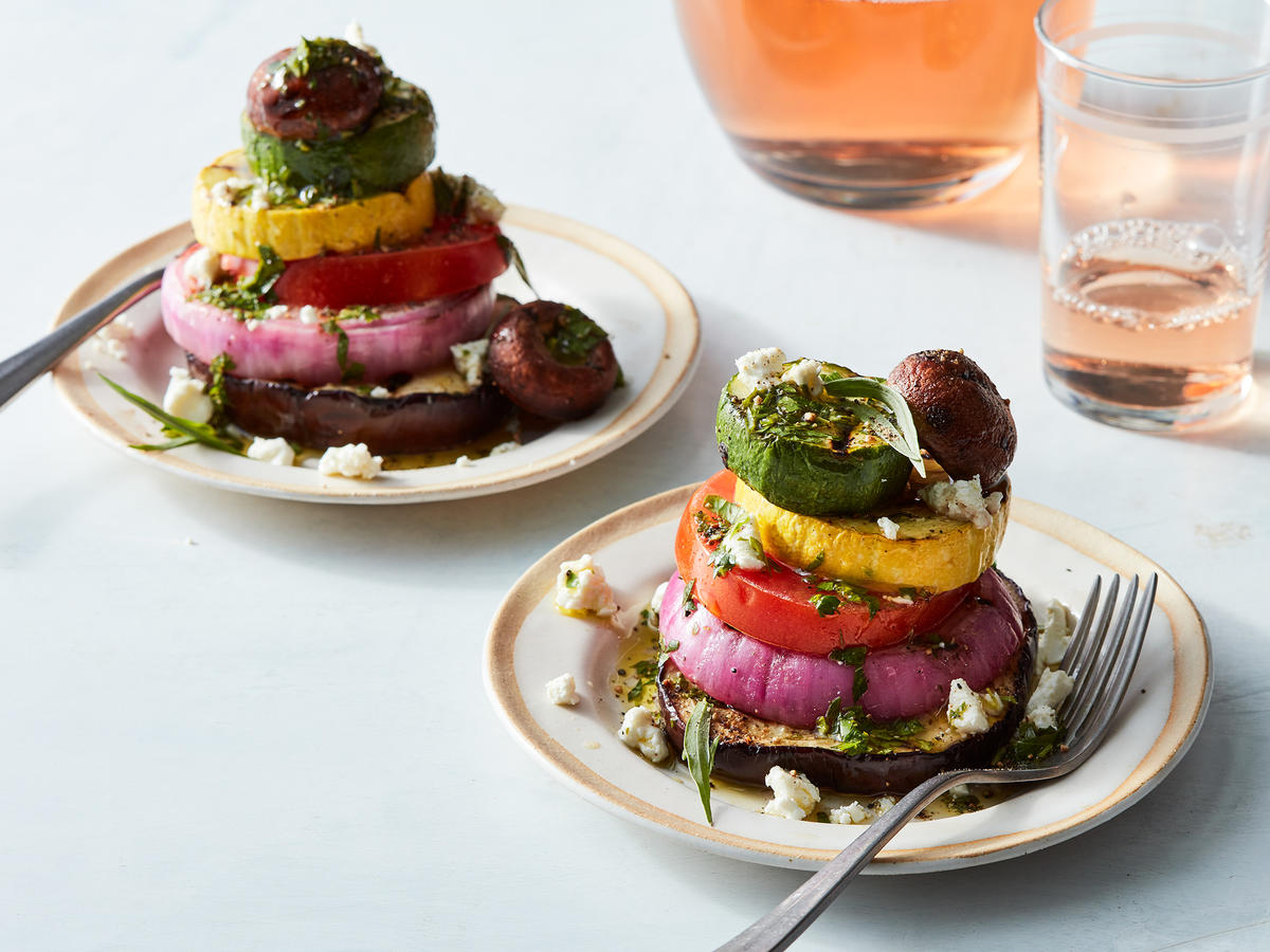 Grilled Vegetable Stacks With Herb Vinaigrette
