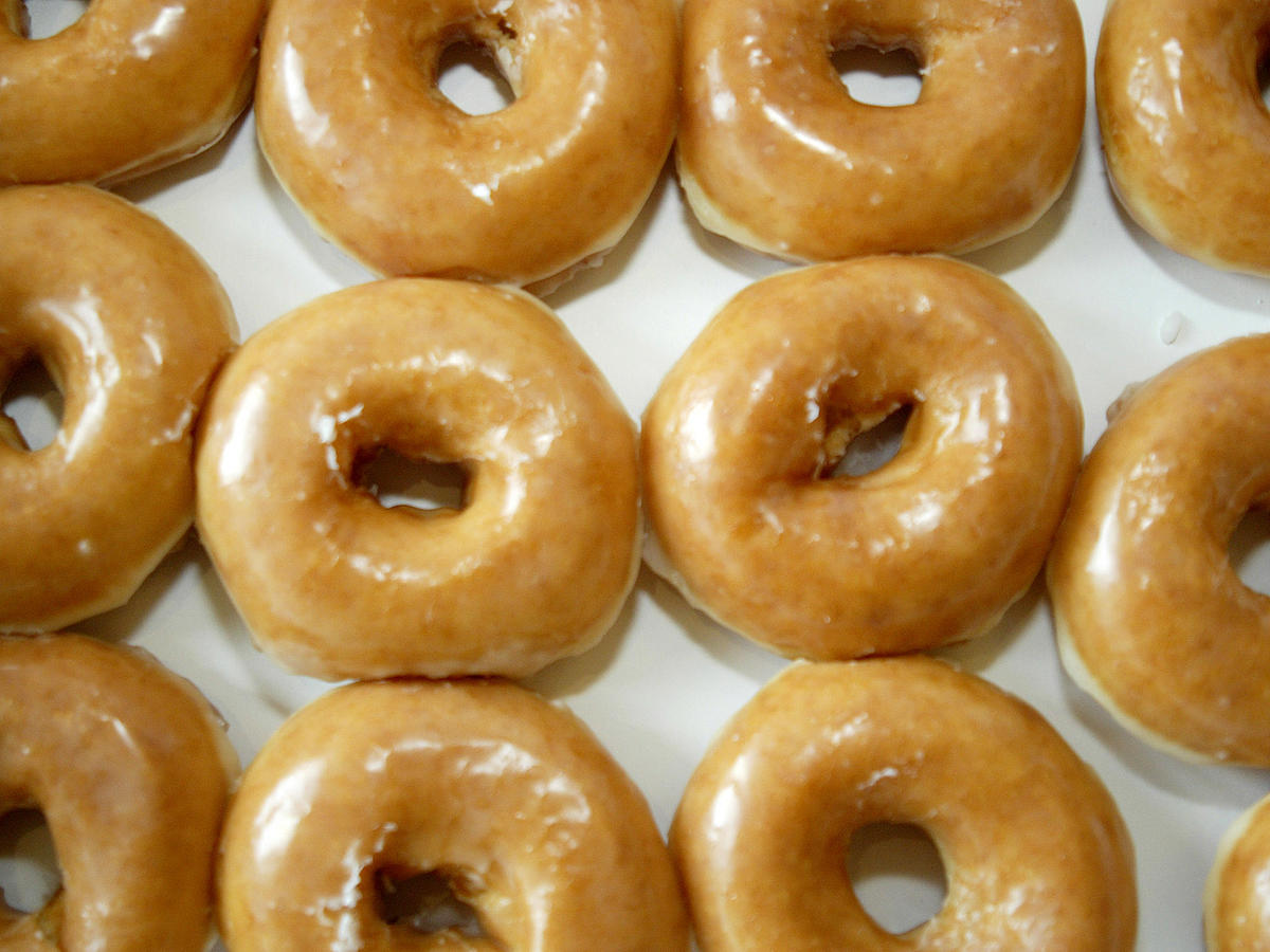 A box of glazed doughnuts is seen at a Krispy Kreme in Charl