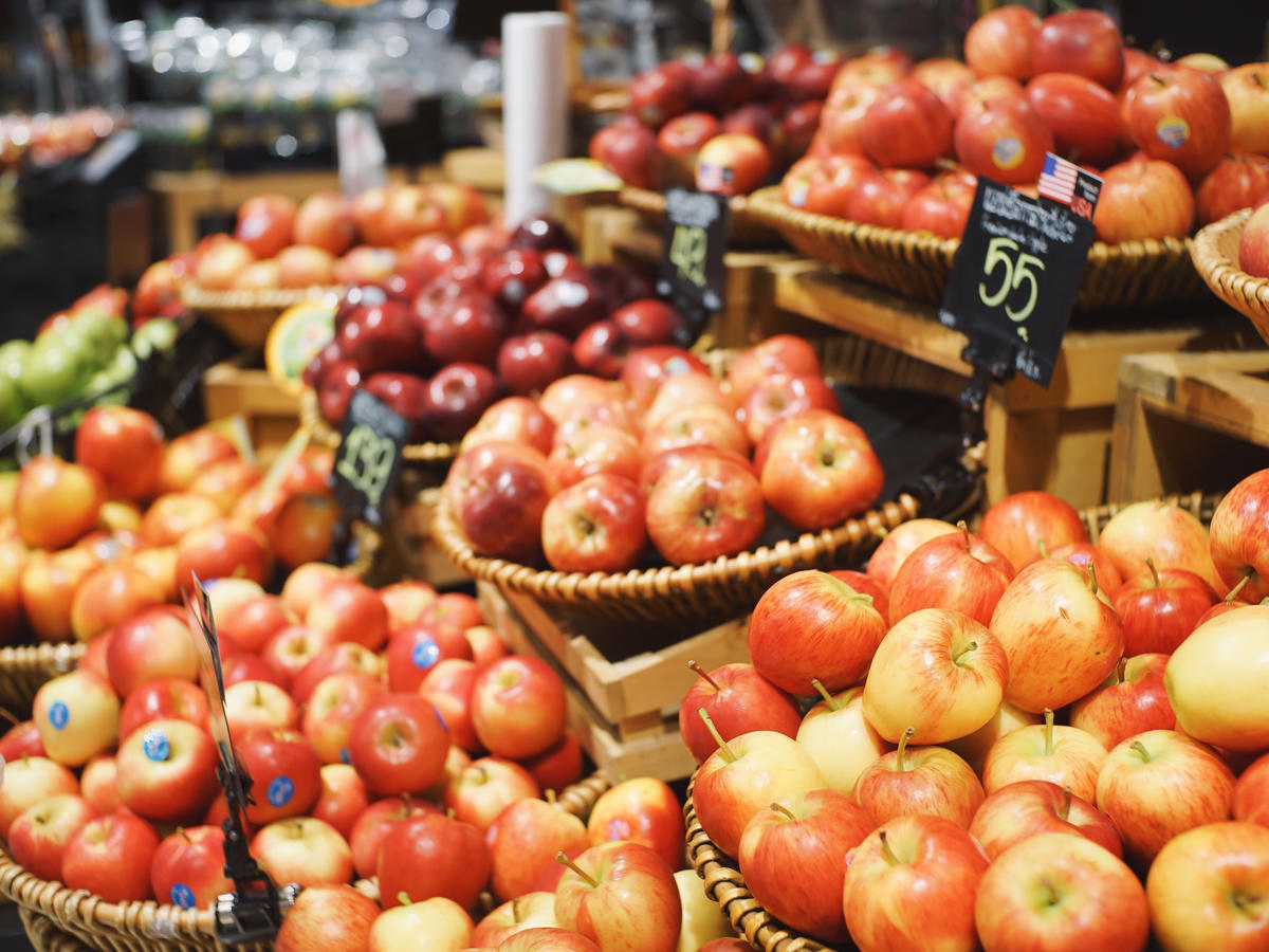 Apples For Sale At Market Stall
