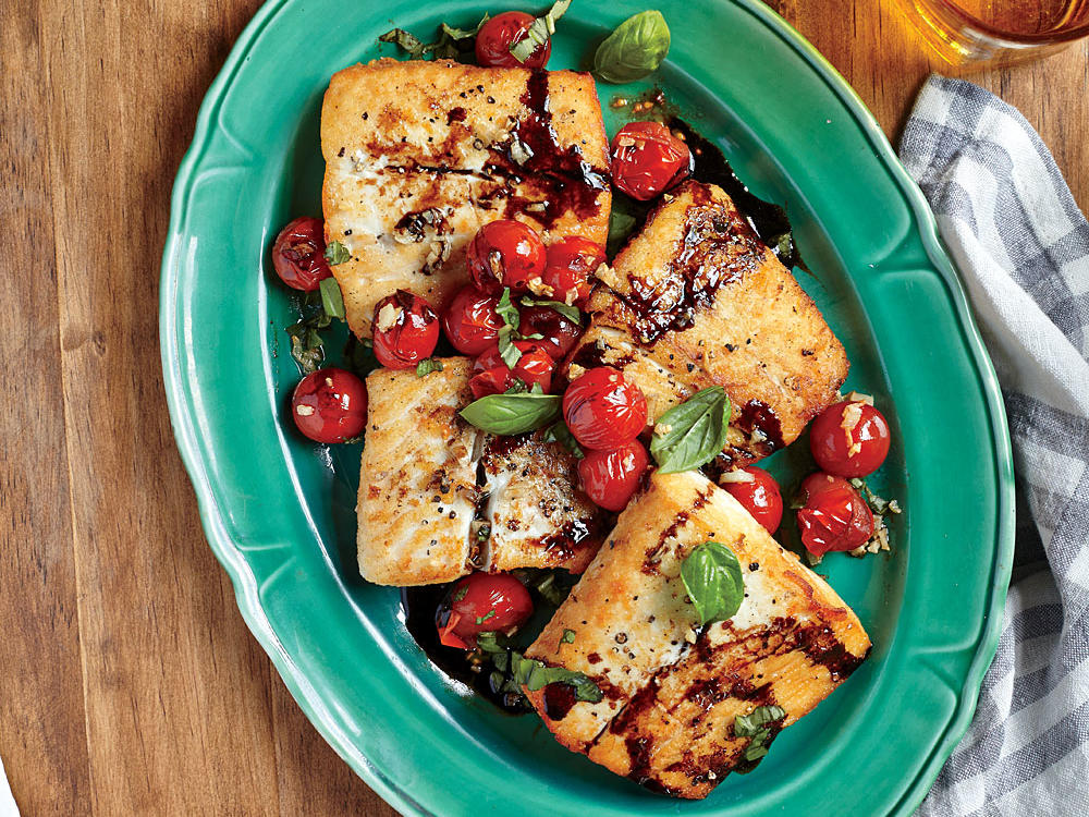 halibut with balsamic cherry tomatoes recipe