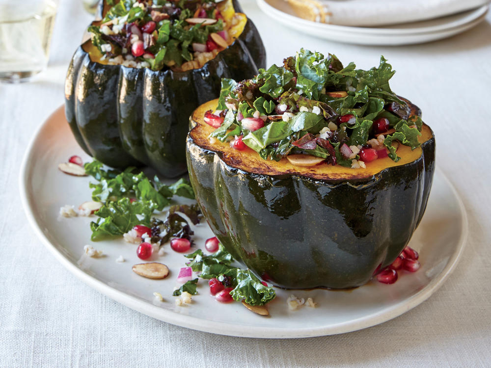 Acorn Squash with Pomegranate and Kale Tabbouleh