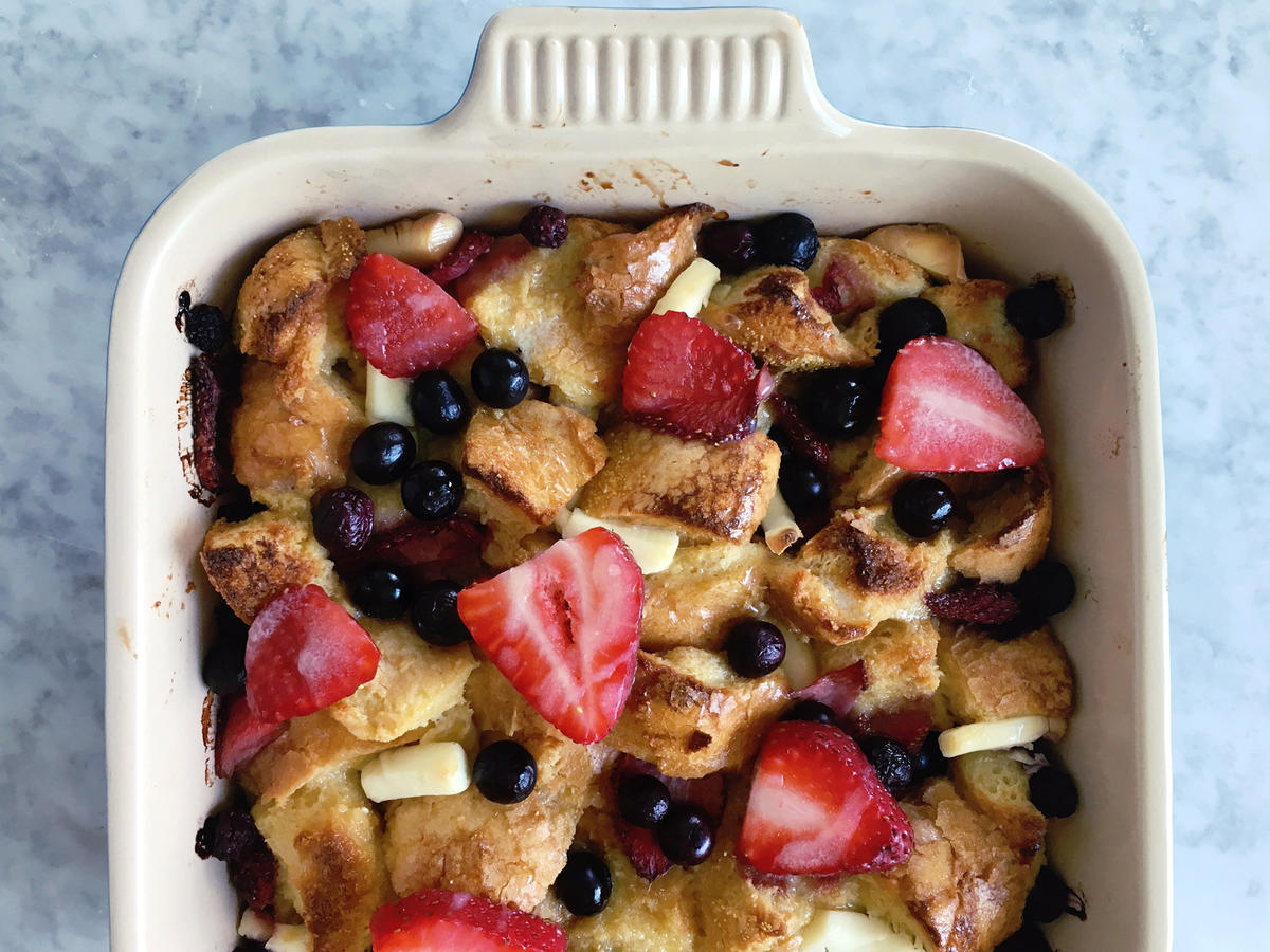 Double Berry Cream Cheese French Toast Casserole