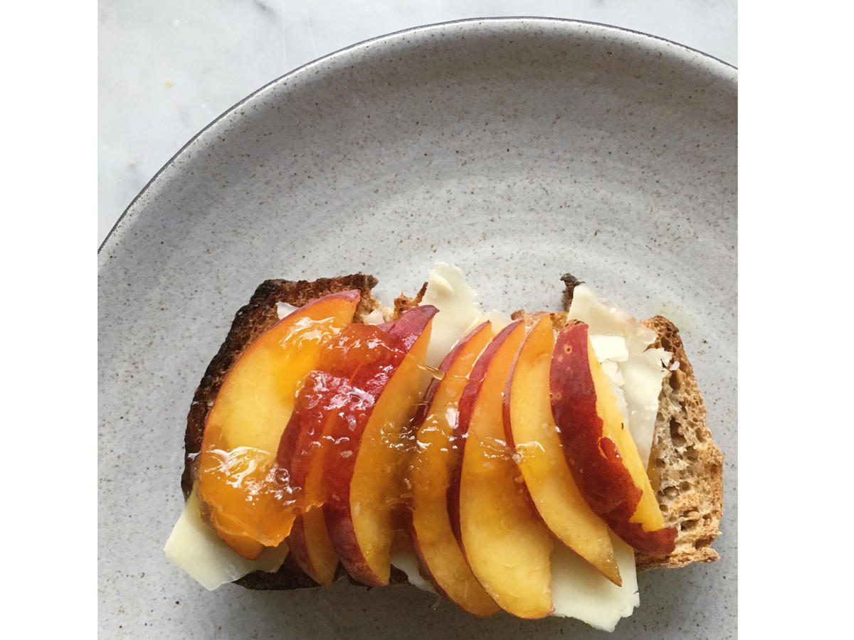 white cheddar and peach toast image