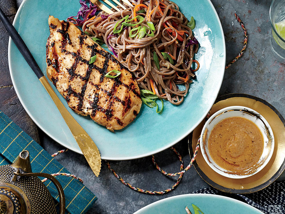 grilled chicken and soba noodles with miso vinaigrette recipe