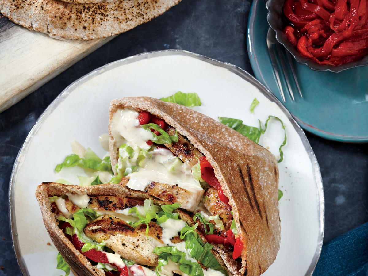 grilled chicken pitas with sesame drizzle recipe
