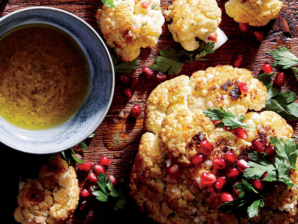 Whole Roasted Cauliflower with Pomegranate and Pine Nuts
