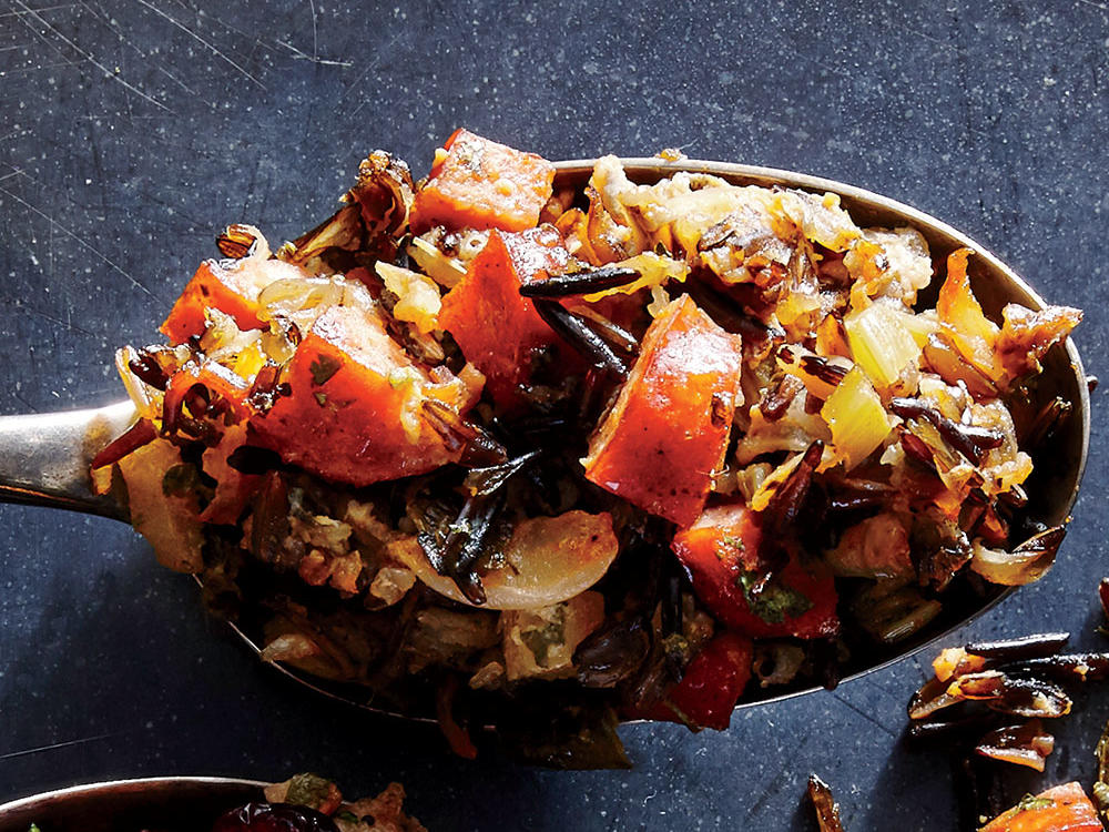 Chorizo and Roasted Poblano Wild Rice Stuffing